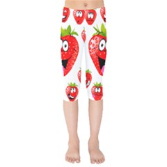Strawberry Fruit Emoji Face Smile Fres Red Cute Kids  Capri Leggings  by Alisyart