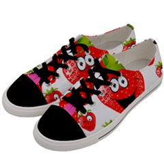 Strawberry Fruit Emoji Face Smile Fres Red Cute Men s Low Top Canvas Sneakers by Alisyart