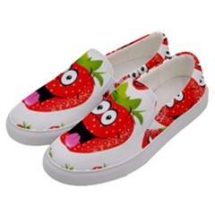 Strawberry Fruit Emoji Face Smile Fres Red Cute Men s Canvas Slip Ons by Alisyart