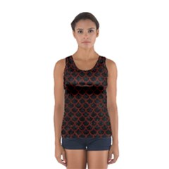Scales1 Black Marble & Red Wood (r) Sport Tank Top