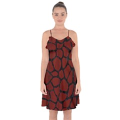 Skin1 Black Marble & Red Wood (r) Ruffle Detail Chiffon Dress