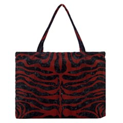 Skin2 Black Marble & Red Wood (r) Zipper Medium Tote Bag by trendistuff