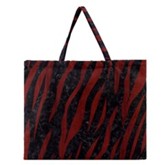 Skin3 Black Marble & Red Wood (r) Zipper Large Tote Bag by trendistuff