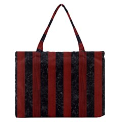 Stripes1 Black Marble & Red Wood Zipper Medium Tote Bag by trendistuff