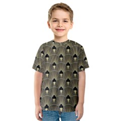 Art Deco Fan Pattern Kids  Sport Mesh Tee by 8fugoso