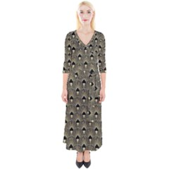 Art Deco Fan Pattern Quarter Sleeve Wrap Maxi Dress