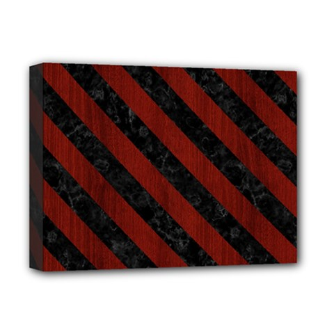 Stripes3 Black Marble & Red Wood Deluxe Canvas 16  X 12   by trendistuff