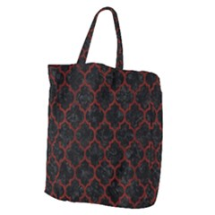 Tile1 Black Marble & Red Wood (r) Giant Grocery Zipper Tote
