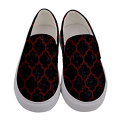 Tile1 Black Marble & Red Wood (r) Women s Canvas Slip Ons