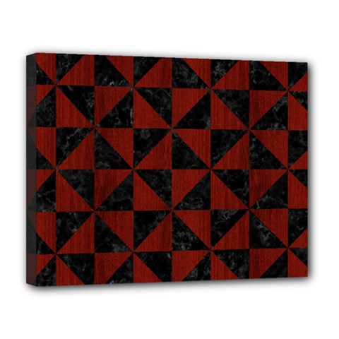 Triangle1 Black Marble & Red Wood Canvas 14  X 11  by trendistuff