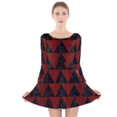 Triangle2 Black Marble & Red Wood Long Sleeve Velvet Skater Dress