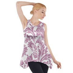 Vintage Floral Pattern Side Drop Tank Tunic by 8fugoso
