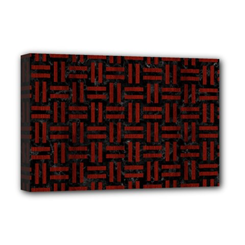 Woven1 Black Marble & Red Wood (r) Deluxe Canvas 18  X 12   by trendistuff