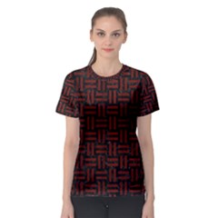 Woven1 Black Marble & Red Wood (r) Women s Sport Mesh Tee by trendistuff