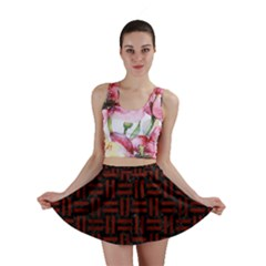 Woven1 Black Marble & Red Wood (r) Mini Skirt by trendistuff