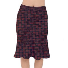 Woven1 Black Marble & Red Wood (r) Mermaid Skirt by trendistuff
