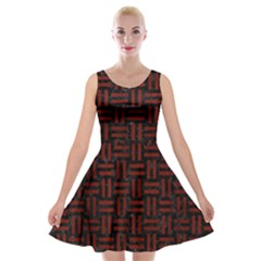 Woven1 Black Marble & Red Wood (r) Velvet Skater Dress by trendistuff