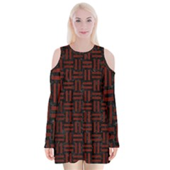 Woven1 Black Marble & Red Wood (r) Velvet Long Sleeve Shoulder Cutout Dress by trendistuff