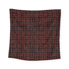 Woven1 Black Marble & Red Wood (r) Square Tapestry (small) by trendistuff
