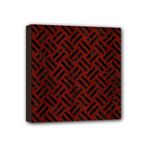 Woven2 Black Marble & Red Wood Mini Canvas 4  X 4  by trendistuff