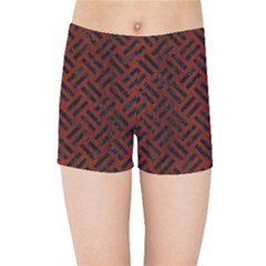 Woven2 Black Marble & Red Wood Kids Sports Shorts