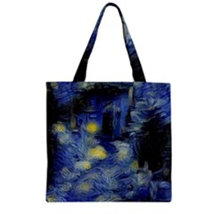 Van Gogh Inspired Zipper Grocery Tote Bag by 8fugoso