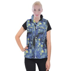 Van Gogh Inspired Women s Button Up Puffer Vest by 8fugoso