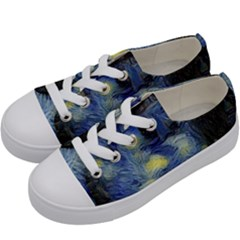 Van Gogh Inspired Kids  Low Top Canvas Sneakers by 8fugoso