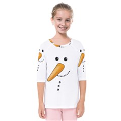Cute Snowman Kids  Quarter Sleeve Raglan Tee