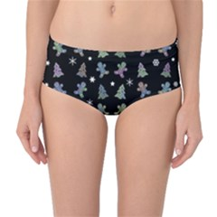Ginger Cookies Christmas Pattern Mid Waist Bikini Bottoms