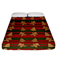 Ginger Cookies Christmas Pattern Fitted Sheet (king Size) by Valentinaart