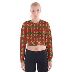 Ginger Cookies Christmas Pattern Cropped Sweatshirt