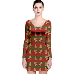 Ginger Cookies Christmas Pattern Long Sleeve Velvet Bodycon Dress by Valentinaart