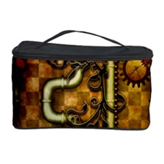 Noble Steampunk Design, Clocks And Gears With Floral Elements Cosmetic Storage Case by FantasyWorld7