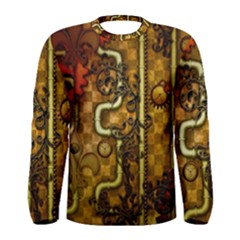 Noble Steampunk Design, Clocks And Gears With Floral Elements Men s Long Sleeve Tee by FantasyWorld7