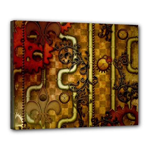 Noble Steampunk Design, Clocks And Gears With Floral Elements Canvas 20  X 16  by FantasyWorld7