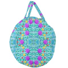 Season For Roses And Polka Dots Giant Round Zipper Tote