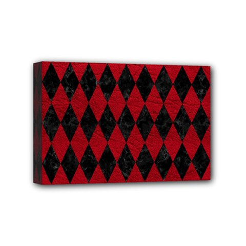 Diamond1 Black Marble & Red Leather Mini Canvas 6  X 4  by trendistuff