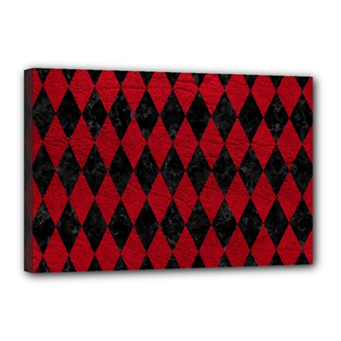 Diamond1 Black Marble & Red Leather Canvas 18  X 12  by trendistuff
