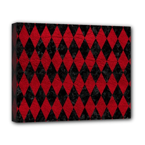 Diamond1 Black Marble & Red Leather Deluxe Canvas 20  X 16   by trendistuff