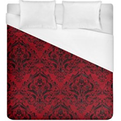 Damask1 Black Marble & Red Leather Duvet Cover (king Size) by trendistuff