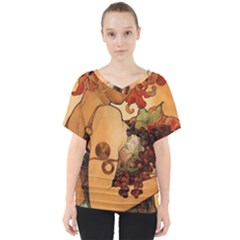 Alfons Mucha   Fruit V Neck Dolman Drape Top
