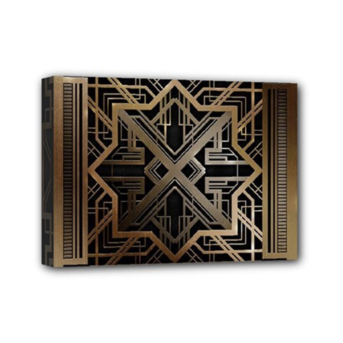 Gold Metallic And Black Art Deco Mini Canvas 7  X 5  by 8fugoso