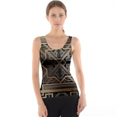 Gold Metallic And Black Art Deco Tank Top by 8fugoso