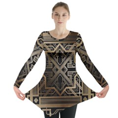 Gold Metallic And Black Art Deco Long Sleeve Tunic  by 8fugoso