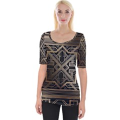 Gold Metallic And Black Art Deco Wide Neckline Tee by 8fugoso