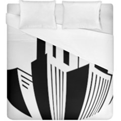 Tower City Town Building Black White Duvet Cover (king Size)