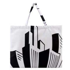 Tower City Town Building Black White Zipper Large Tote Bag by Jojostore