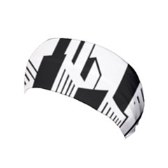 Tower City Town Building Black White Yoga Headband