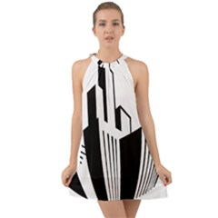 Tower City Town Building Black White Halter Tie Back Chiffon Dress